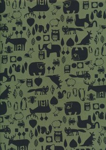 Sevenberry Novelty Fabric - Bears, Owls, Kangaroos, Penguins, Squirrels, Frogs & Foxes On Green
