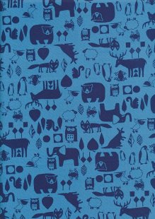 Sevenberry Novelty Fabric - Bears, Owls, Kangaroos, Penguins, Squirrels, Frogs & Foxes On Blue