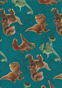 Novelty Fabric - The Good Dinosaur On Turquoise