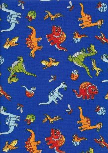 Novelty Fabric - Cartoon  Dinosaurs On Blue