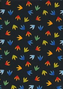 Novelty Fabric - Dinosaur Prints On Black