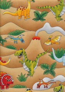 Novelty Fabric - Cartoon Dinosaurs In The Desert