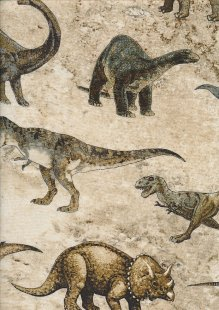 Novelty Fabric - Realistic Dinosaurs On Taupe