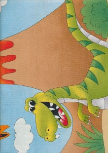 Novelty Fabric - Cartoon Dinosaurs And Volcanos
