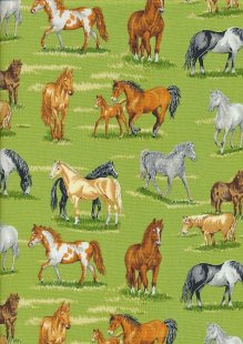 Novelty Fabric - Horses In A Field