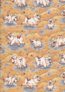 Novelty Fabric - Pigs In Swill