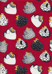 Novelty Fabric - Crazy Chickens On Red