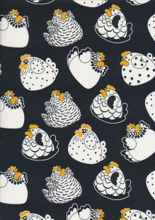 Novelty Fabric - Crazy Chickens On Black