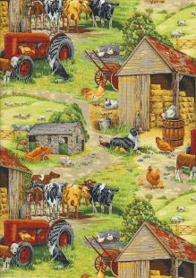 Novelty Fabric - Realistic Farm Yard Scene