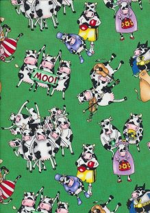 Novelty Fabric - Crazy Cows