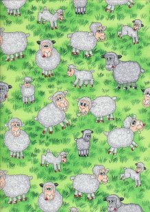 Novelty Fabric - Cartoon Sheep In A Field