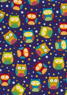 Novelty Fabric - Night Owls And Stars On Blue