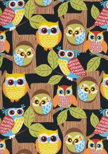 Novelty Fabric - Owls In Trees On Black