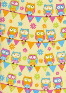 Novelty Fabric - Owls & Bunting On Yellow