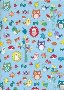 Novelty Fabric - Owls, Hedgehogs, Snails, Butterflys and Mushrooms On Blue
