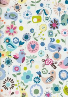 Novelty Fabric - Birds, Flowers & Hearts On Ivory