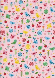 Novelty Fabric - Birds, Apples and Flowers On Pink