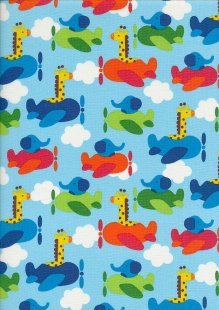 Novelty Fabric - Pilot Giraffes & Elephants On Blue