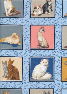 Novelty Fabric - Cats In Squares On Blue