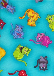Novelty Fabric - Cartoon Cats On Turquoise