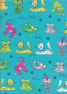 Novelty Fabric - Crazy Cartoon Cats On Turquoise