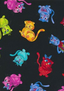 Novelty Fabric - Multi Coloured Cats On Black
