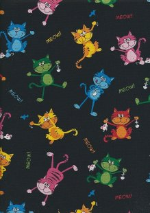 Novelty Fabric - Multi Coloured Meowing Cats On Black
