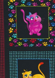 Novelty Fabric - Cats & Paw Prints In Squares On Black Panel