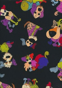 Novelty Fabric - Patchwork Dogs On Black