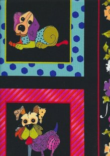 Novelty Fabric - Patchwork Dogs In Squares On Black