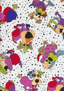 Novelty Fabric - Patchwork Dogs On White