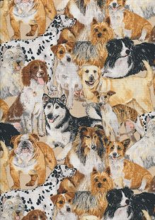 Novelty Fabric - Realistic Pack Of Dogs On Cream