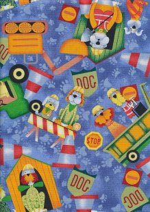 Novelty Fabric - Workmen Dogs On Site
