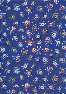 Novelty Fabric - Skulls And Cross Bones On Blue