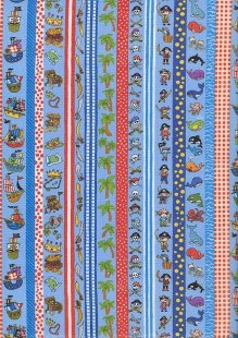 Novelty Fabric - Linear Pirate Theme On Blue