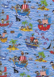Novelty Fabric - Pirates, Orcas, Whales & Kraken At Sea