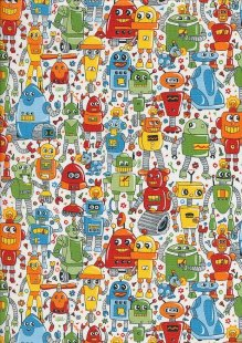 Novelty Fabric - Multi Coloured Robots On Ivory