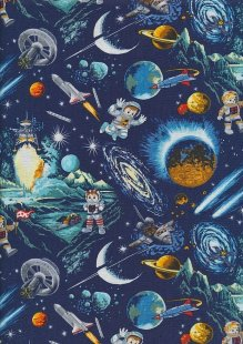 Novelty Fabric - Astronauts, Rockets And Planets In Space