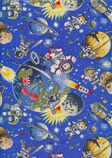 Novelty Fabric - Astronauts, Rockets, Meteors And Planets In Space