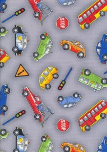 Novelty Fabric - Cars, Trucks & Buses On Powder Blue