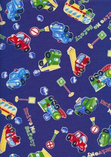 Novelty Fabric - Cars, Pickups & Buses On Blue