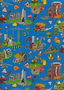 Novelty Fabric - Construction Worksite Scene On Turquoise