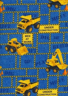 Novelty Fabric - Diggers And Pickups On Blue