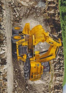 Novelty Fabric - Caterpillar Digger In Quarry Panel