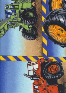 Novelty Fabric - Various Construction Vehicles Panel