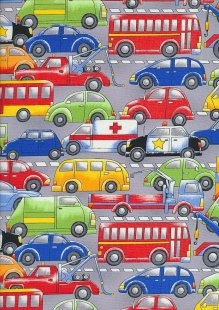 Novelty Fabric - Road Scene with Vehicles