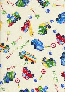 Novelty Fabric - Ditsy Cars, Trains & Lorries On Cream