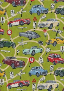 Novelty Fabric - Classic Cars, Signs & Roads On Green