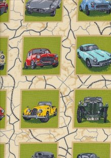 Novelty Fabric - Classic Cars In Squares