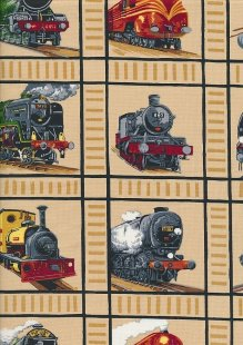 Novelty Fabric - Classic Trains In Squares On Beige